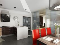 Modern Interior Design (privat Apartment 3d Render Royalty Free Stock Images