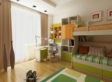 Modern interior design (privat apartment 3d render Royalty Free Stock Photo