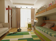 Modern interior design (privat apartment 3d render Royalty Free Stock Images