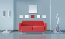 Modern Interior Design. Modern interior realistic design with red sofa lamps vase and stones vector illustration Stock Photo