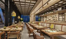 Modern interior design of restaurant lounge, oriental arabic style with wire mesh ceiling and hidden lights,  wood and bronze gold. Colors, 3d rendering stock photo