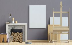 Modern interior design in Scandinavian style with fireplace. Moc. K up poster. 3D illustration Stock Image