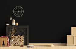 Modern interior design in Scandinavian style with fireplace. Moc. K up wall. 3D illustration Royalty Free Stock Photography