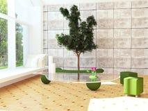 Modern interior design scene with a tree inside. 3d render Stock Photo