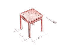Modern interior design table freehand drawing. Stock Photos
