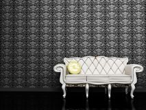 Modern  interior design with a white sofa Royalty Free Stock Image