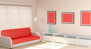 Modern interior designed in warm tones Royalty Free Stock Photos