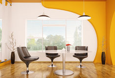 Modern interior of dining room 3d render Stock Photos