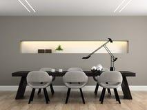 Modern interior dining room 3D Stock Image