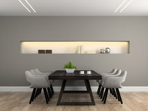 Modern interior dining room with table Stock Photo