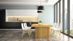 Modern interior of dining room Stock Photos