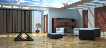 The modern interior of a drawing room. (3d rendering Royalty Free Stock Image