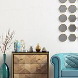 Modern interior with dresser and chair. Wall mock up. 3d illustr. Ation stock illustration