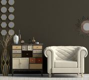 Modern interior with dresser and chair. Wall mock up. 3d illustr. Ation vector illustration