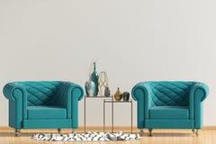 Modern interior with dresser. Posterl mock up. 3d illustration stock illustration