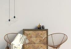 Modern interior with dresser. Wall mock up. 3d illustration vector illustration