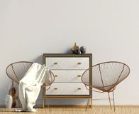 Modern interior with dresser. Wall mock up. 3d illustration stock illustration