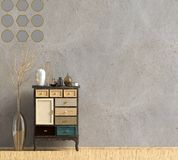 Modern interior with dresser. Wall mock up. 3d illustration royalty free illustration