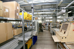 Modern interior electronics components production, parts warehou Stock Photography