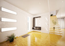 Modern interior of entrance hall 3d render Royalty Free Stock Photography