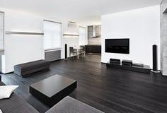 Modern interior för minimalismstilstudio Arkivbilder