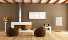 Modern interior with fireplace. Brown living room with fireplace two fashion armchair and artist easel-rendering Stock Images
