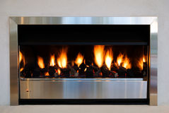 Modern interior fireplace Royalty Free Stock Photo