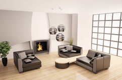 Modern interior with fireplace 3d Royalty Free Stock Photos