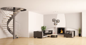 Modern interior with fireplace 3d Stock Photo
