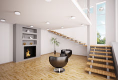 Modern interior with fireplace 3d render. Modern interior of living room with fireplace and staircase 3d render Royalty Free Stock Photography