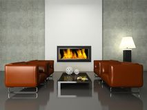 Modern interior with fireplace Stock Image
