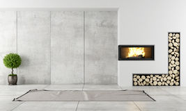 Modern interior with fireplace. Minimalist living room with fireplace without furniture Stock Photography