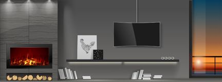 Modern interior with fireplace. A shelf of books and a TV. Panoramic window with the sunset. Vector graphics. Doodle or a banner Royalty Free Stock Images