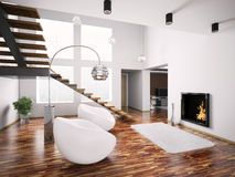 Modern interior with fireplace and staircase 3d Stock Photo