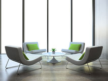 Modern interior with four armchairs and coffe table Royalty Free Stock Photos