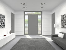 Modern interior with front door Royalty Free Stock Photo