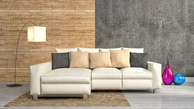 Modern interior with furniture. 3d illustration Royalty Free Stock Images