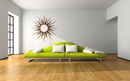 Modern interior with green sofa Stock Image