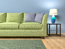 Modern interior with green sofa. 3d illustration Royalty Free Stock Photos