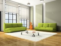 Modern interior with green sofas Royalty Free Stock Photos