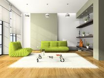 Modern interior with green sofas Royalty Free Stock Photo