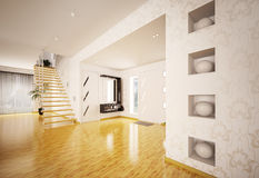 Modern interior of hall with staircase 3d render Stock Image
