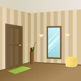 Modern interior hallway room beige door illustration Stock Photography