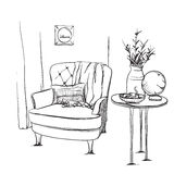 Modern interior hand drawing vector. Chair and blanket Royalty Free Stock Image