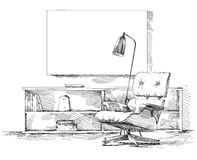 Modern interior hand drawing vector Stock Images