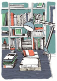 Modern interior home library, bookshelves, hand drawn colorful sketch illustration. Modern interior home library, bookshelves. hand drawn colorful sketch vector illustration