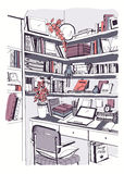 Modern interior home library, bookshelves, workplace hand drawn colorful sketch illustration. Modern interior home library, bookshelves, workplace hand drawn Stock Images