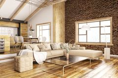 Interior of modern living room and kitchen 3d rendering Royalty Free Stock Images