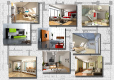 Modern interior image set royalty free illustration