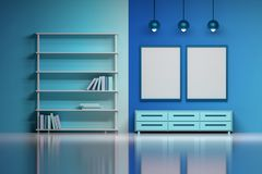 Free Modern Interior In Blue Colors For A Boy. Royalty Free Stock Image - 126239366